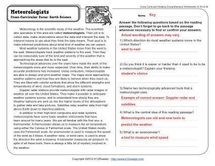 meteorologists 5th grade reading comprehension passages reading comprehension worksheets. Black Bedroom Furniture Sets. Home Design Ideas