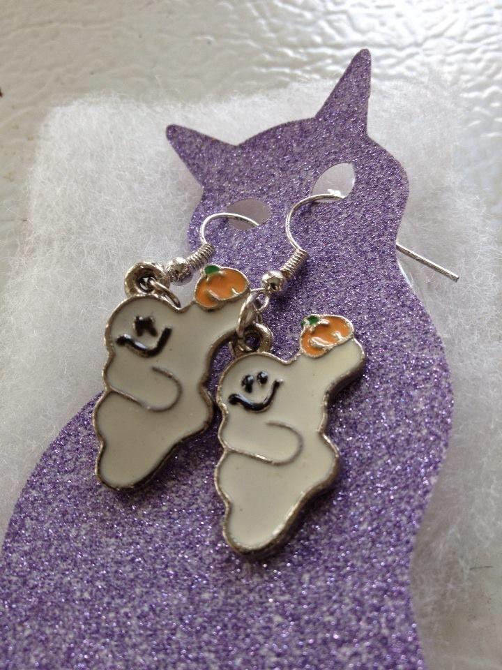 Enamel GHOST Earrings Dangle/Drop Ear Wires Handmade #Handmade #DropDangle