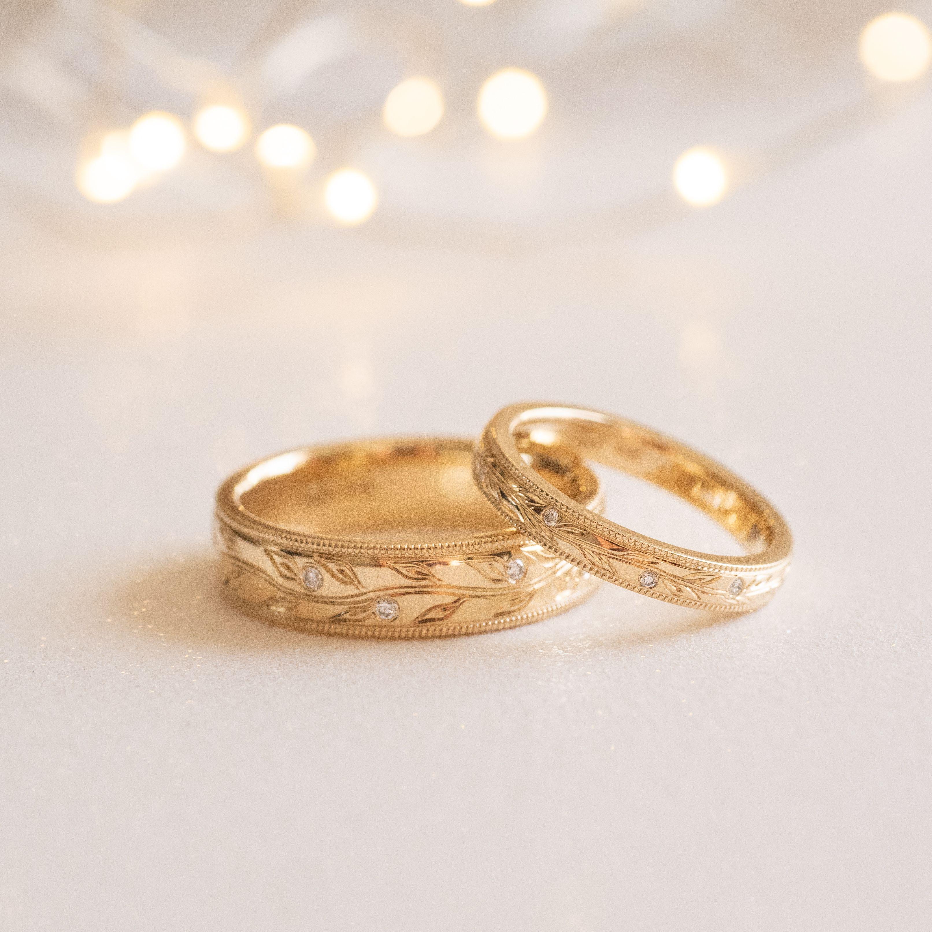 Matching Wedding Rings Mens Wedding Rings Gold Engraved Wedding Rings Matching Wedding Rings