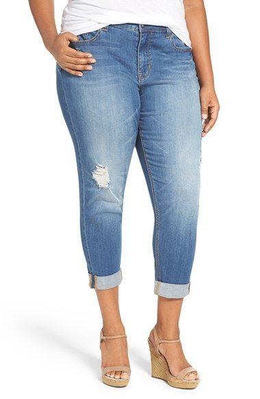 7594a1bd8f3 Melissa McCarthy Seven7 Distressed Stretch High Rise Crop Girlfriend Jeans  (Indio) (Plus Size)