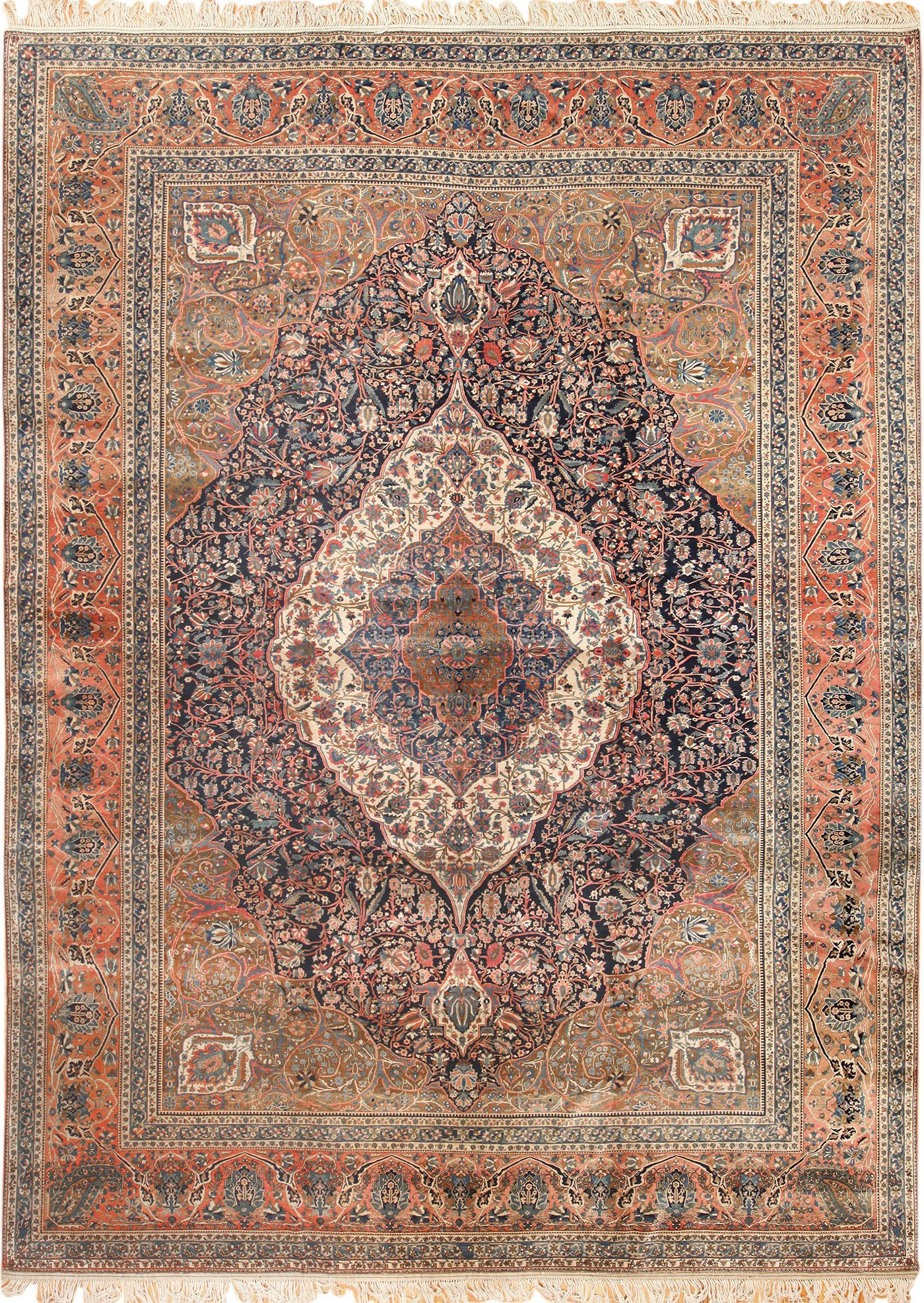 Click Here To View This Beautiful Navy Antique Mohtasham Kashan Persian Rug 49328 Available For