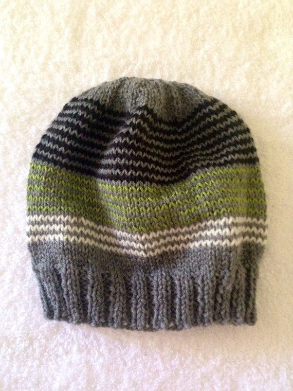 5b74d33ebd4 Gray black and green stripe beanie by yorkpatty on Etsy (Accessories ...