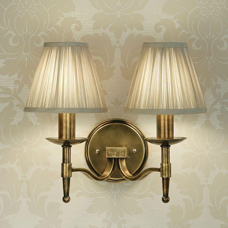 Interiors 1900 ca1w2b 2 x ca1shb stanford brass double wall light b dc