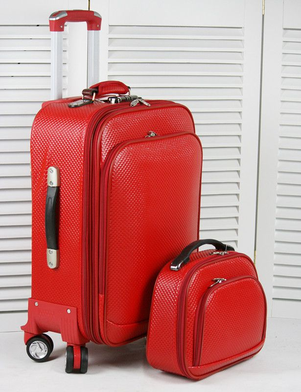 Built-in wire commercial faux leather trolley luggage travel bag ...