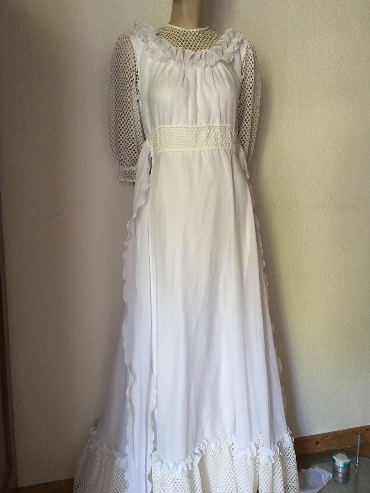 Maxikleid Hippiekleid 70er Kleid Weiss Spitze Hochzeit 36 38 Fashion White Dress Clothes