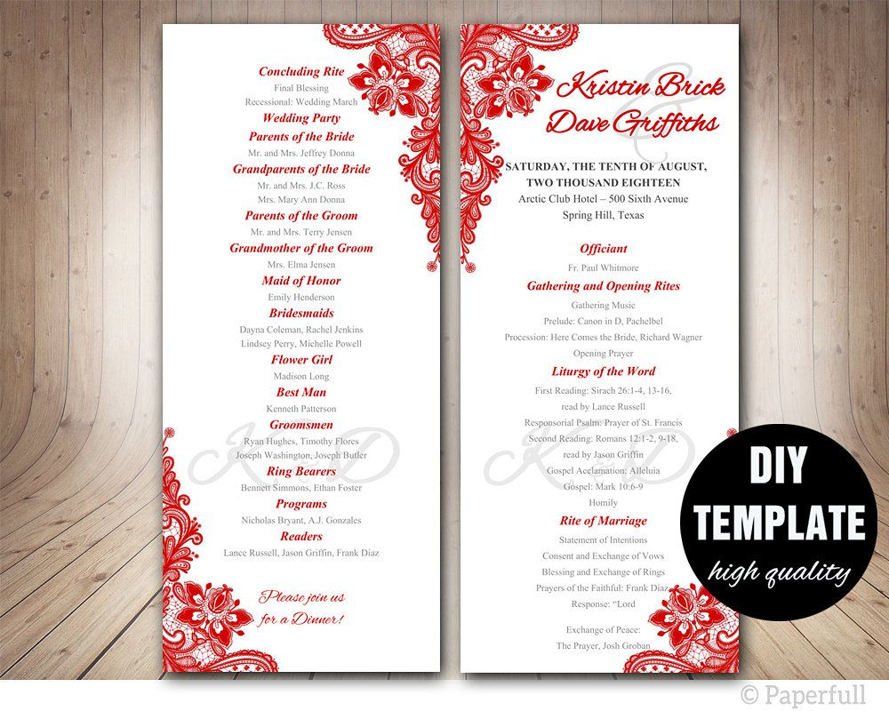 Red Wedding Program Template Instant Microsoft Word Lace