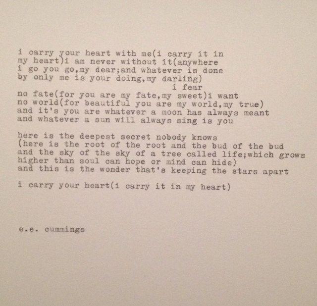 Ee Cummings I Carry Your Heart Poem Typed On By WhiteCellarDoor