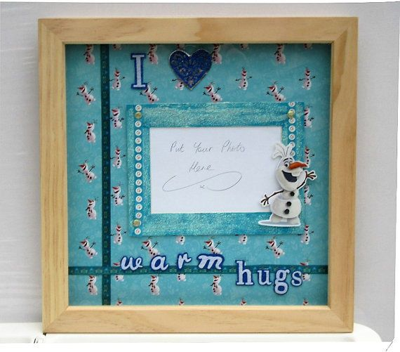 frozen collage picture frame / handmade with an oak box frame ...