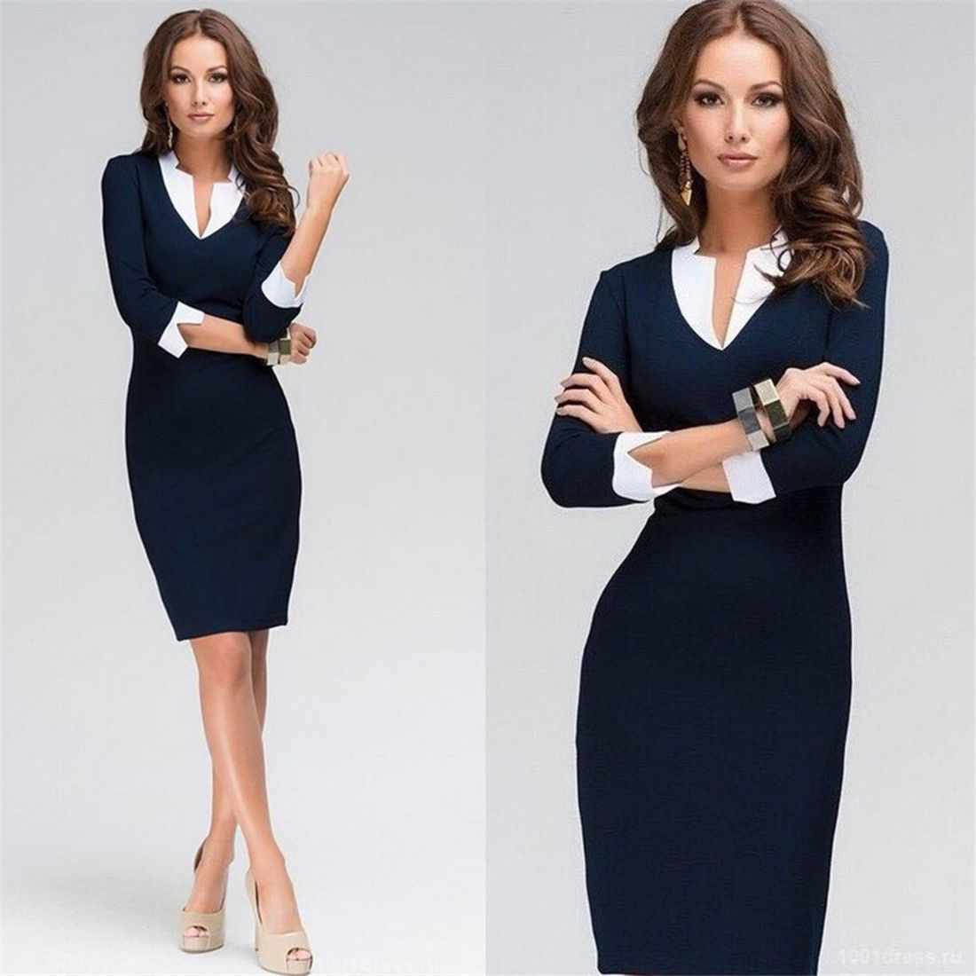 Women Smart Bodycon Mid Sleeve Party Cocktail Pencil Dress Black Vestido  Casual 8267312eb127