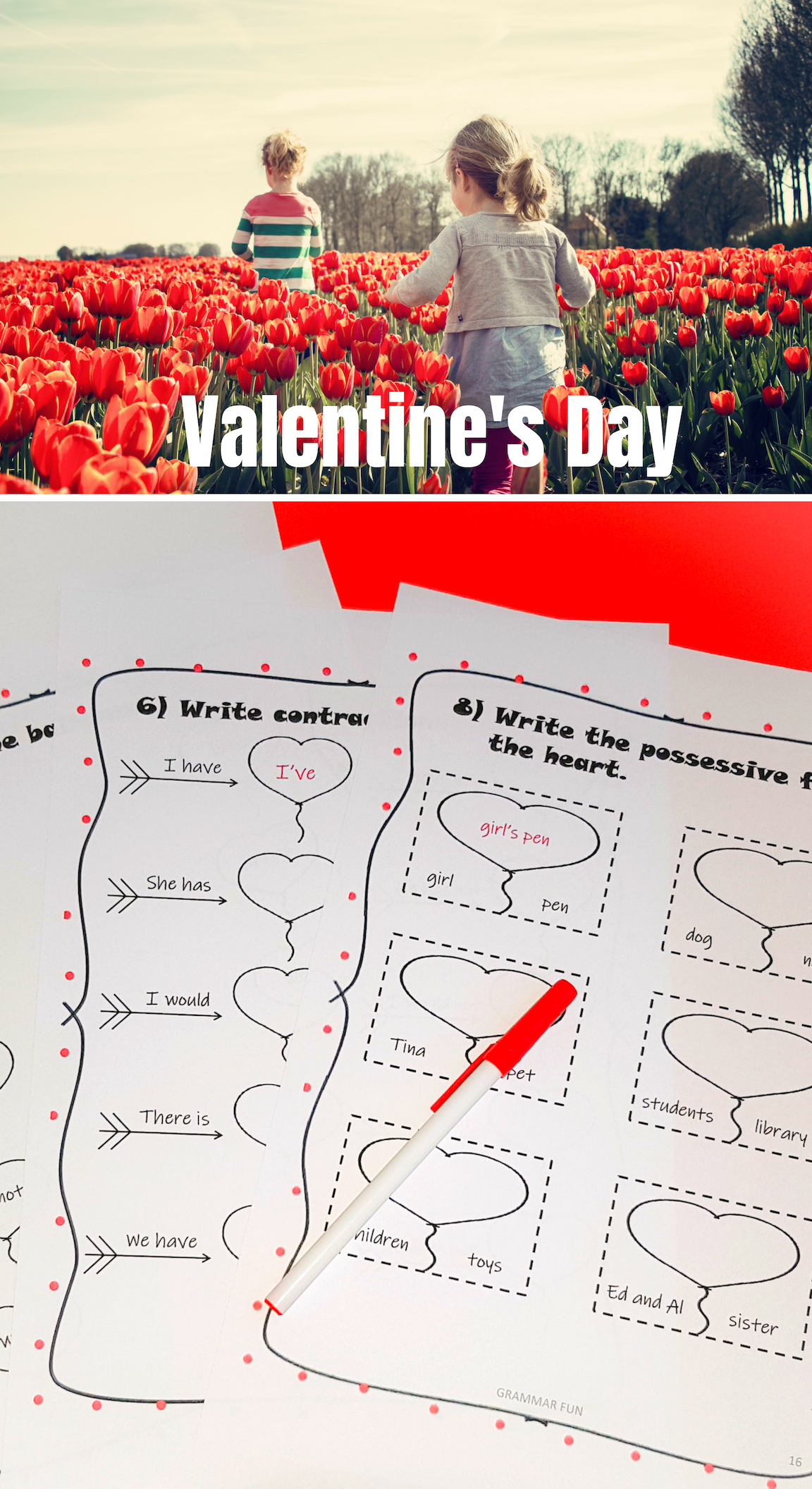 Valentine S Day Worksheets Contraction Worksheet Possessives Student Teaching [ 2112 x 1152 Pixel ]