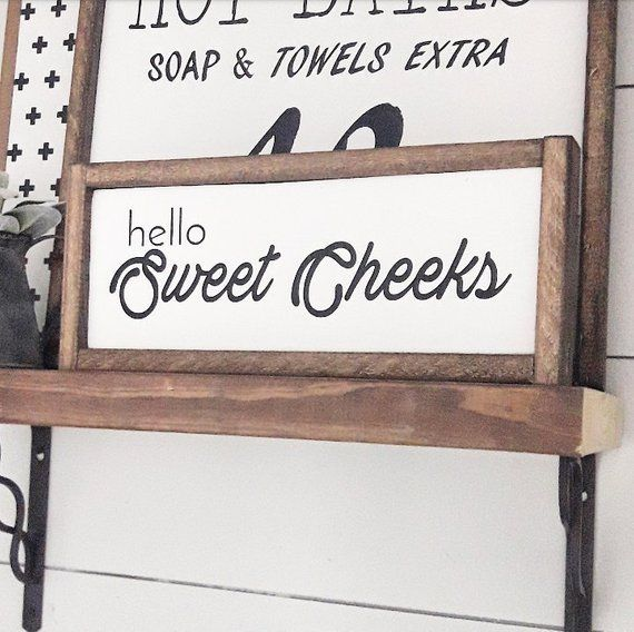 Hello Sweet Cheeks Bathroom Farmhouse Decor Funny Sayings Humor Home Framed Wood Signs Wall Ha