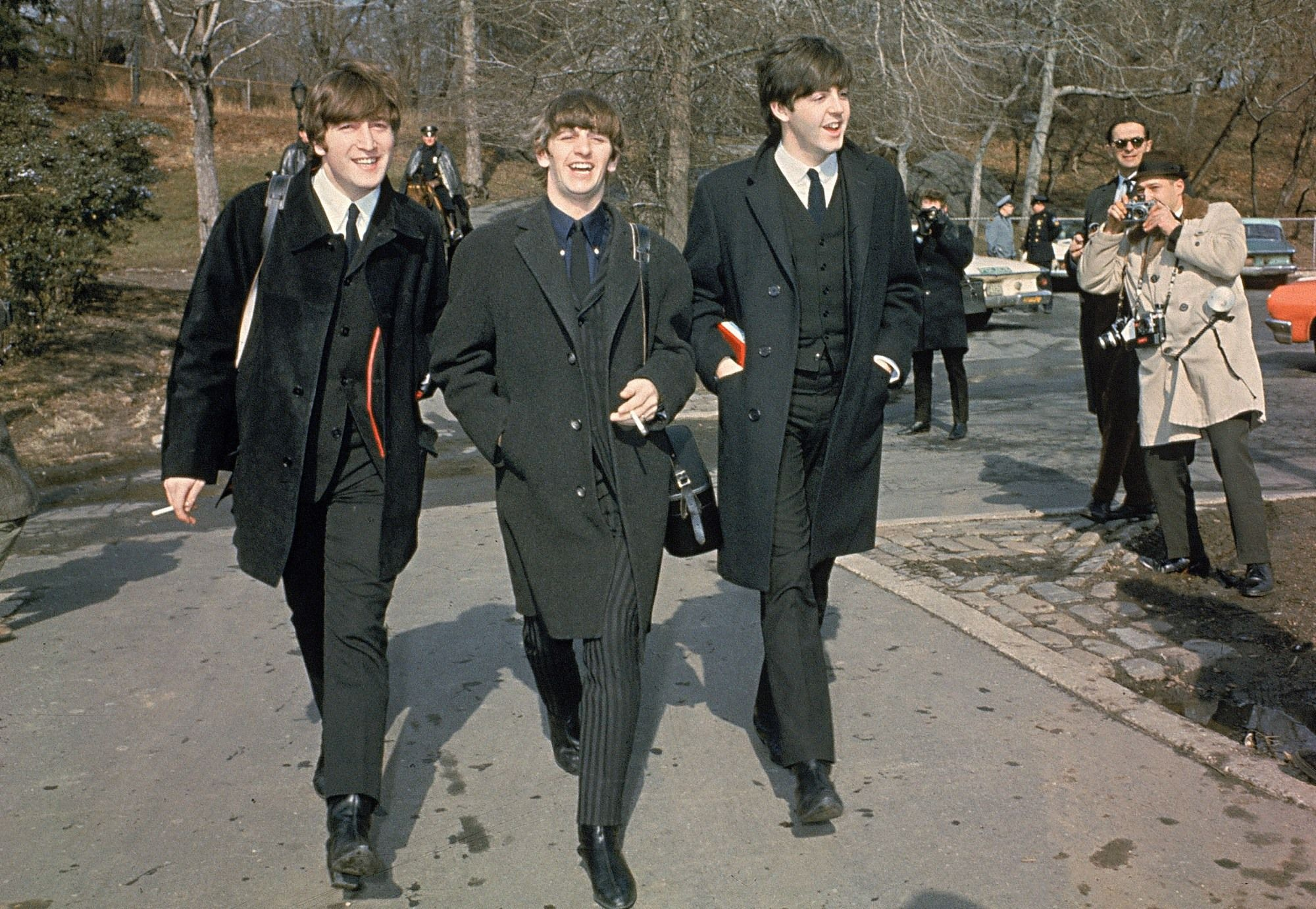 John, Ringo and Paul in Central Park, NYC February 1964