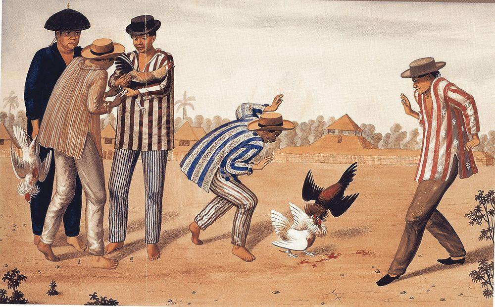 "Sabungan (cockfighting) (Source:""Album, Islas Filipinas, 1683-1888,"" by Juan Maria Cariño and Sonia Pinto Ner. Manila: Ars Mundi. Philippines, (2004))"