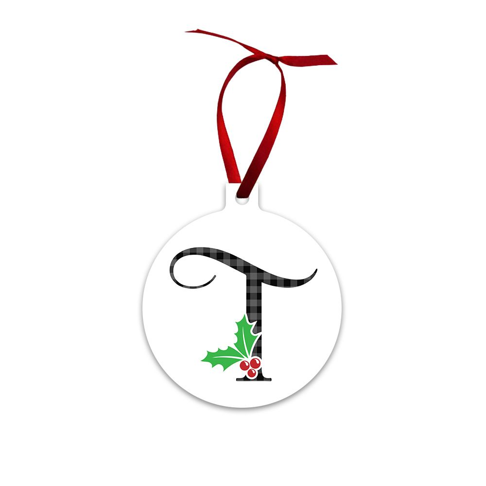 gift #holiday #christmas #monogram #initial #holly #ornament ...