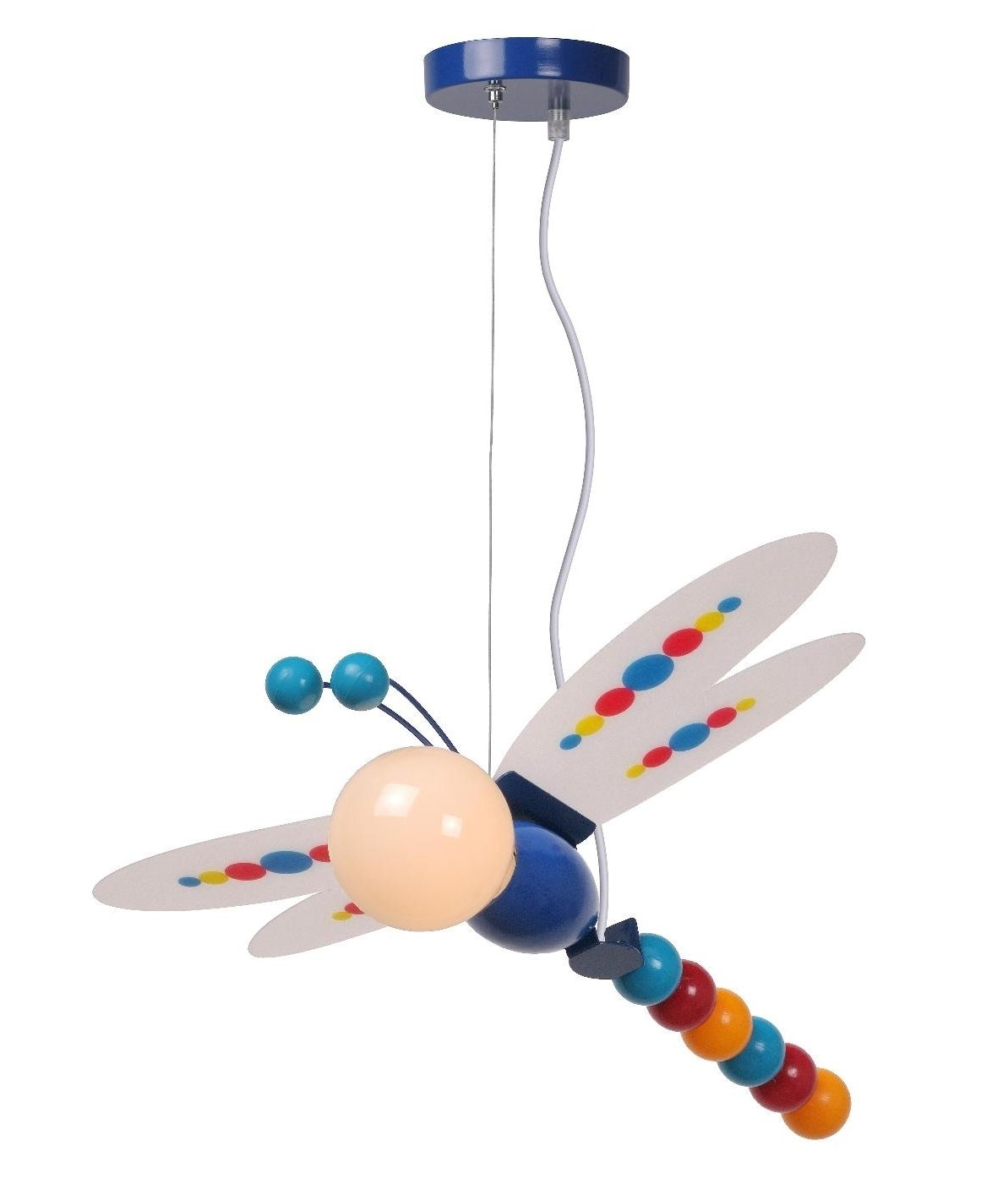 A beautifully coloured dragonfly pendant light, with the lamp forming the dragonflies head!