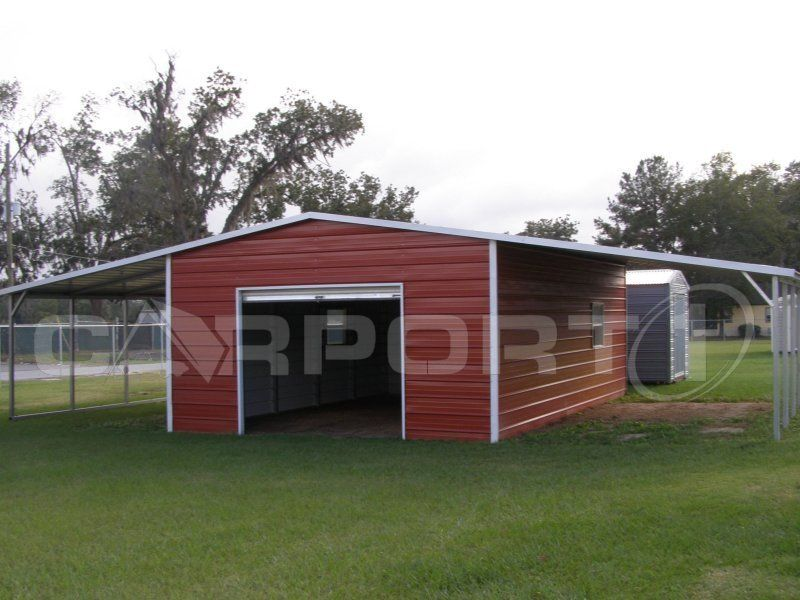 This Is A Continous Roof Storage Barn That Features Two