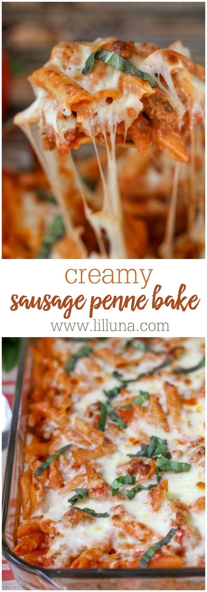Creamy Sausage Penne Bake #porksausages
