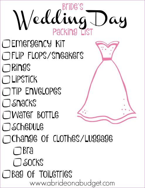 Bride S Wedding Day Ng List