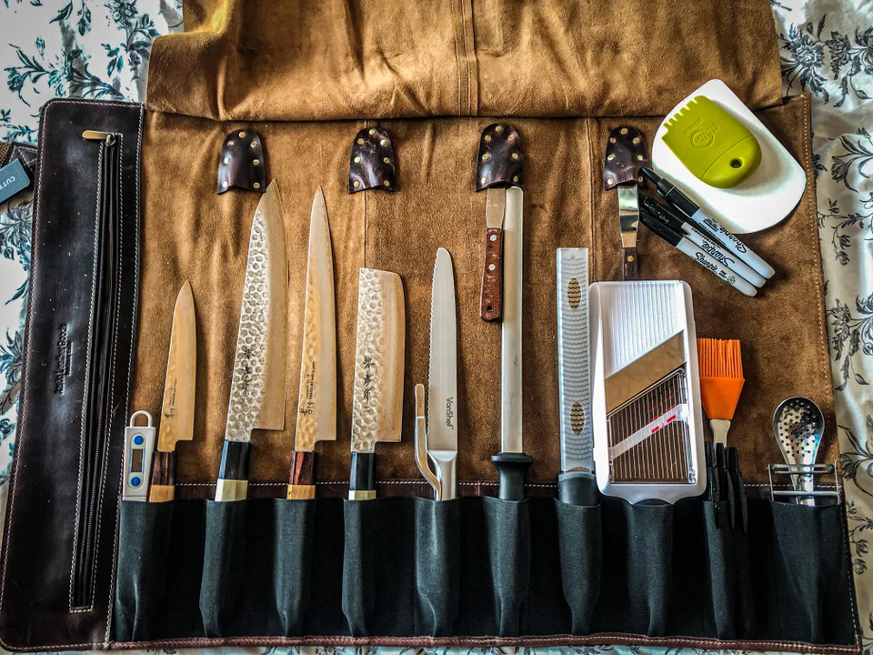 What S In My Man Bag Chefknives Fish And Meat Japanese Traditional Damascus Chef Knives