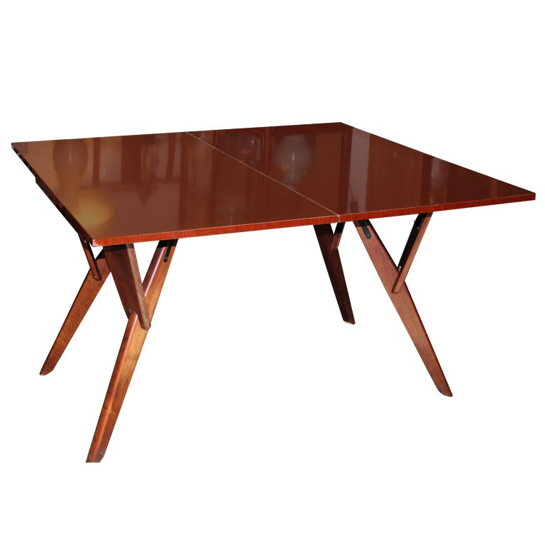 Mid Century Convertible Cocktail Console Dining Table, Circa 1960.