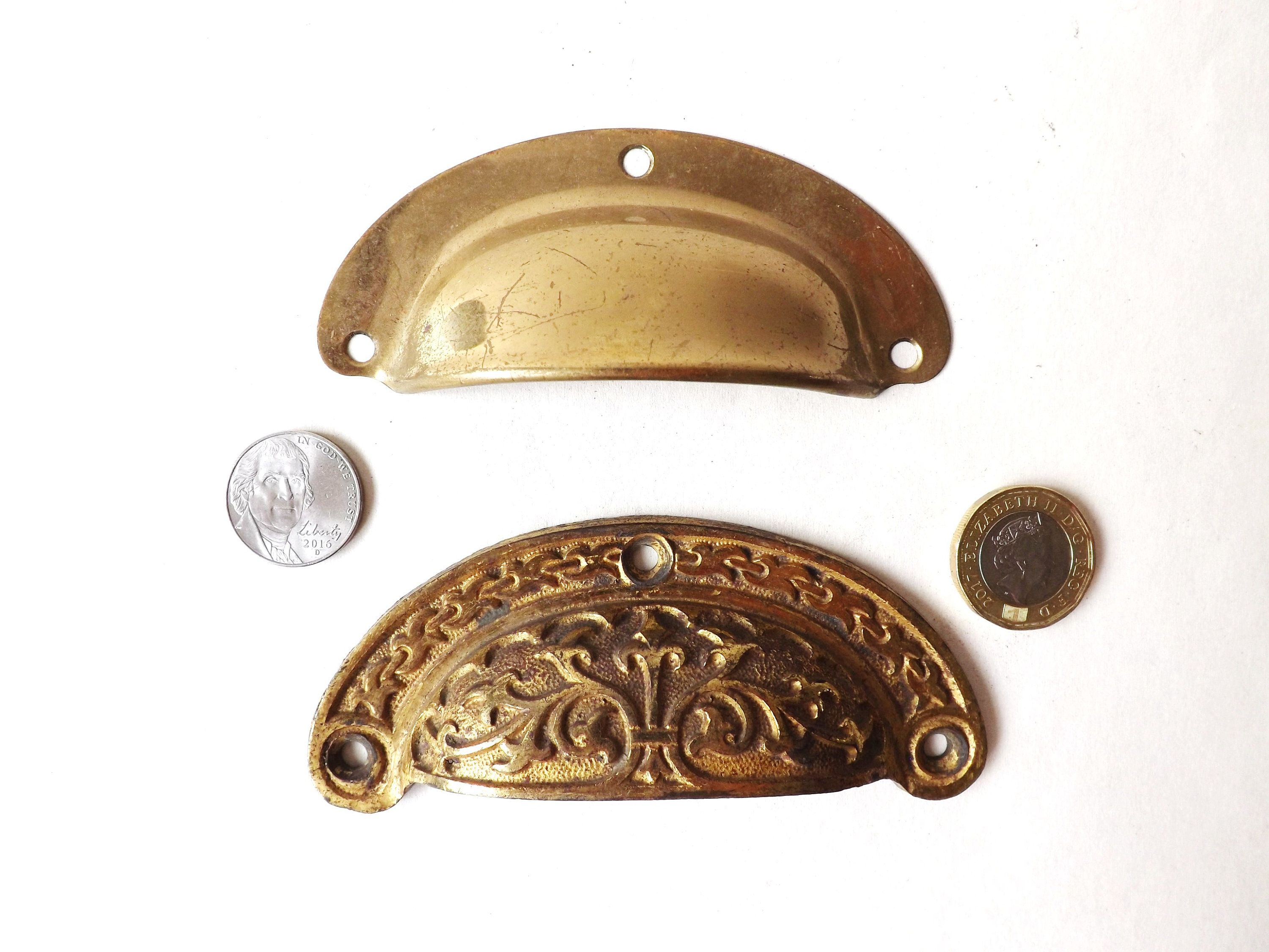 2 Antique Brass Cup Handles Reclaimed Old Original Cabinet Drawer Pulls Salvaged Hardware Furniture Upcycling Restoration Antique Brass Antiques Brass