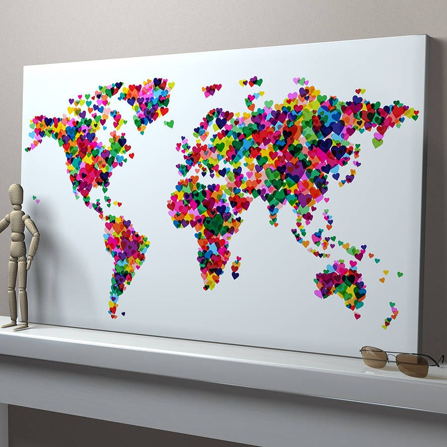 love hearts map of the world art print