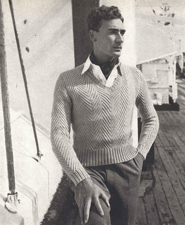 Colin Sweater • 1950s Knitting Herringbone Top VNeck Jumper Knitted ...
