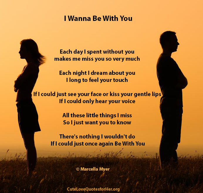 Sad I Miss You Quotes For Friends: Cute Love Poems For Her / Him