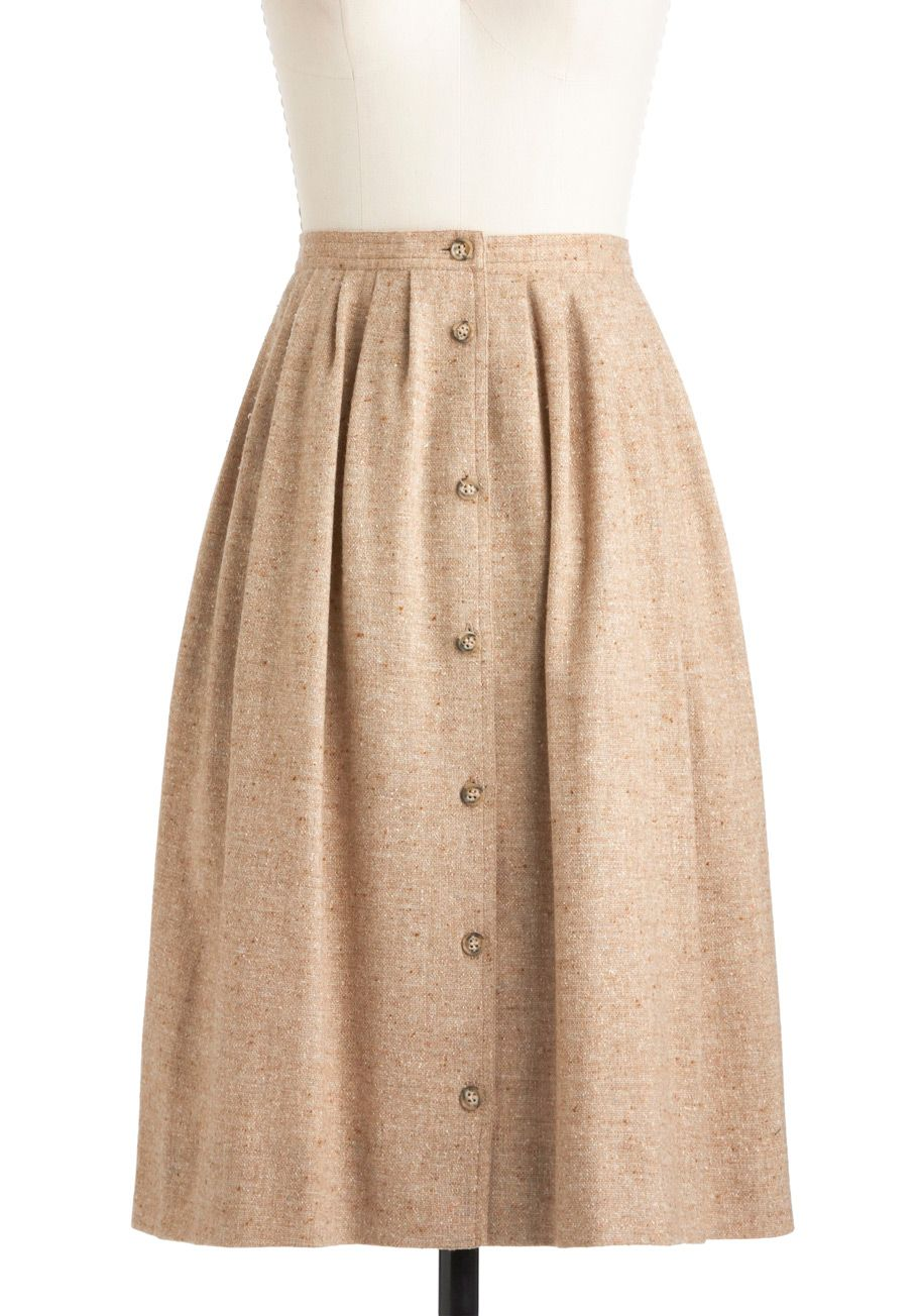 d8650913f Vintage Tweed-ish Modern Skirt - Tan, Buttons, 70s, A-line, Solid, Pleats,  Pockets, Work, Long
