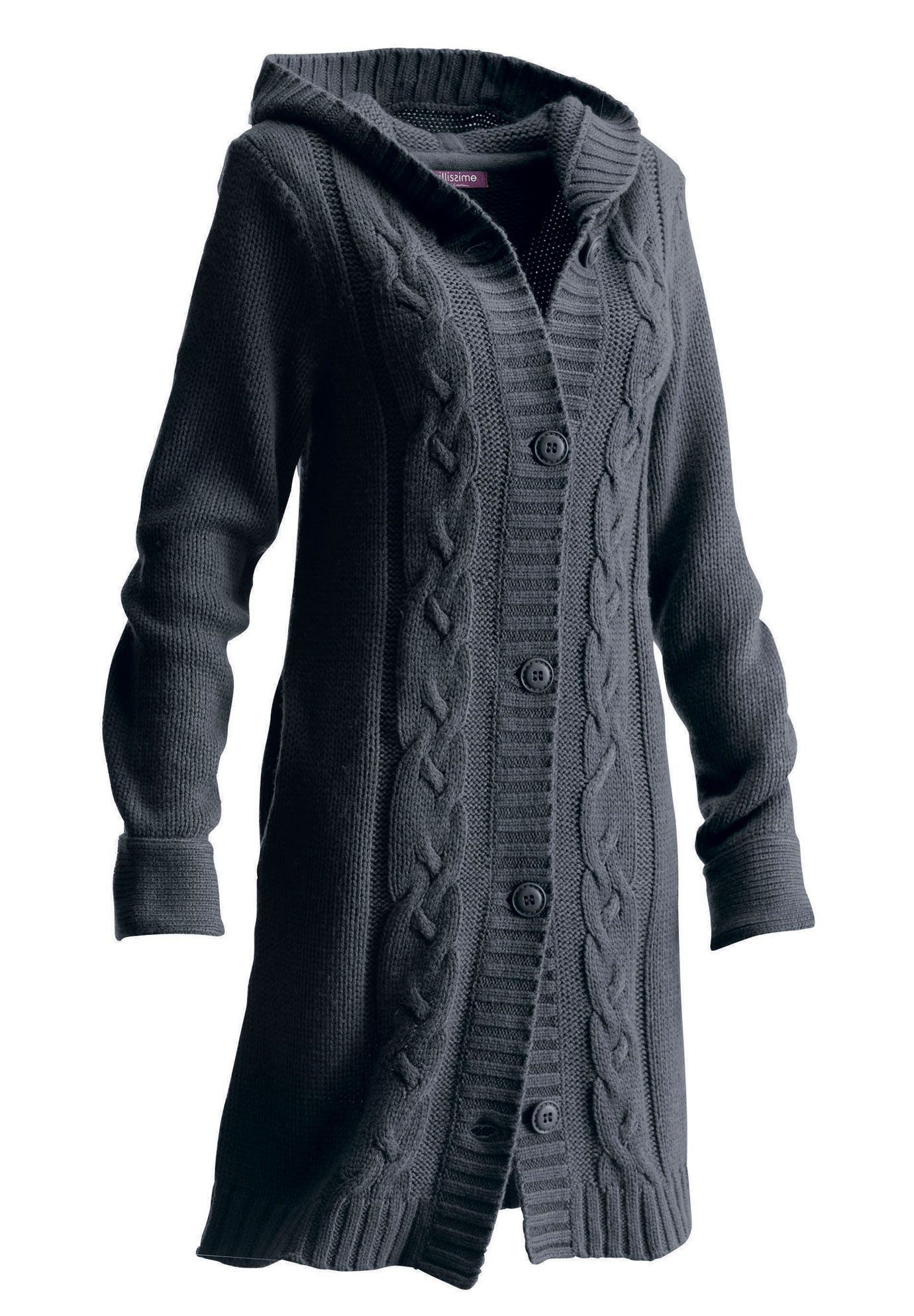Plus Size Long Hooded Cardigan | Plus Size Sweaters & Cardigans ...