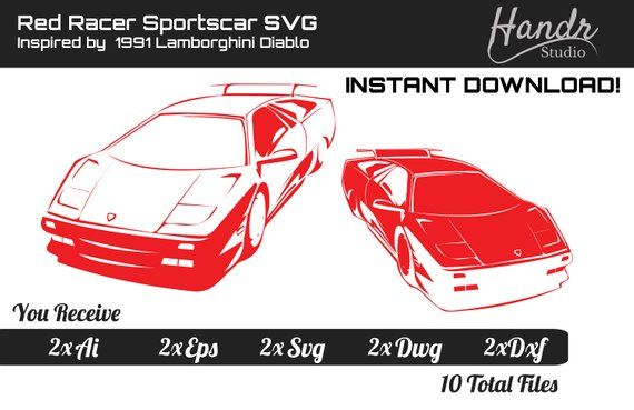 Red Racer By Handr Inspired By 1991 Lamborghini Diablo Dgital Svg