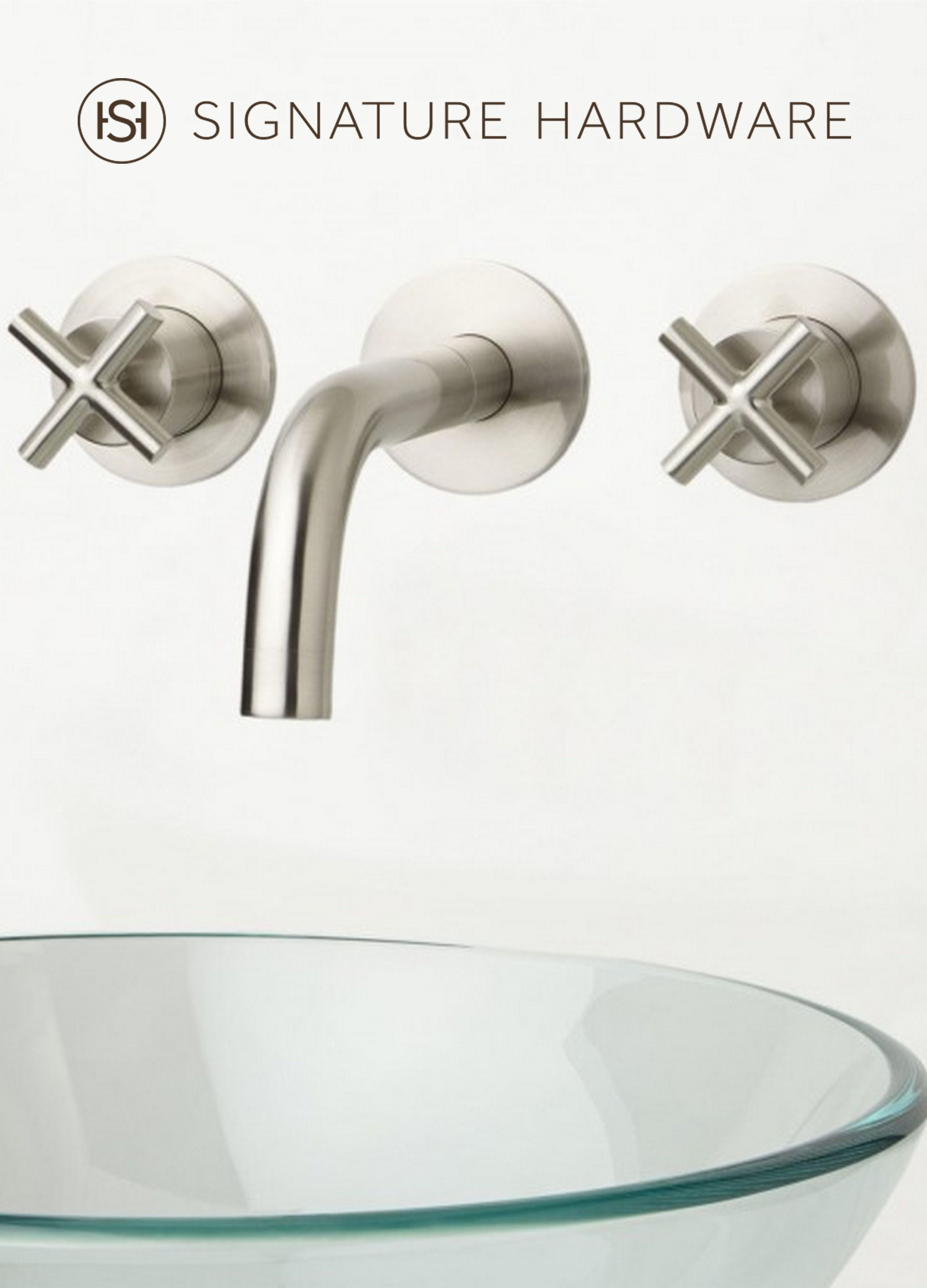 Exira Wall-Mount Bathroom Faucet - Cross Handles | Faucet and Wall mount