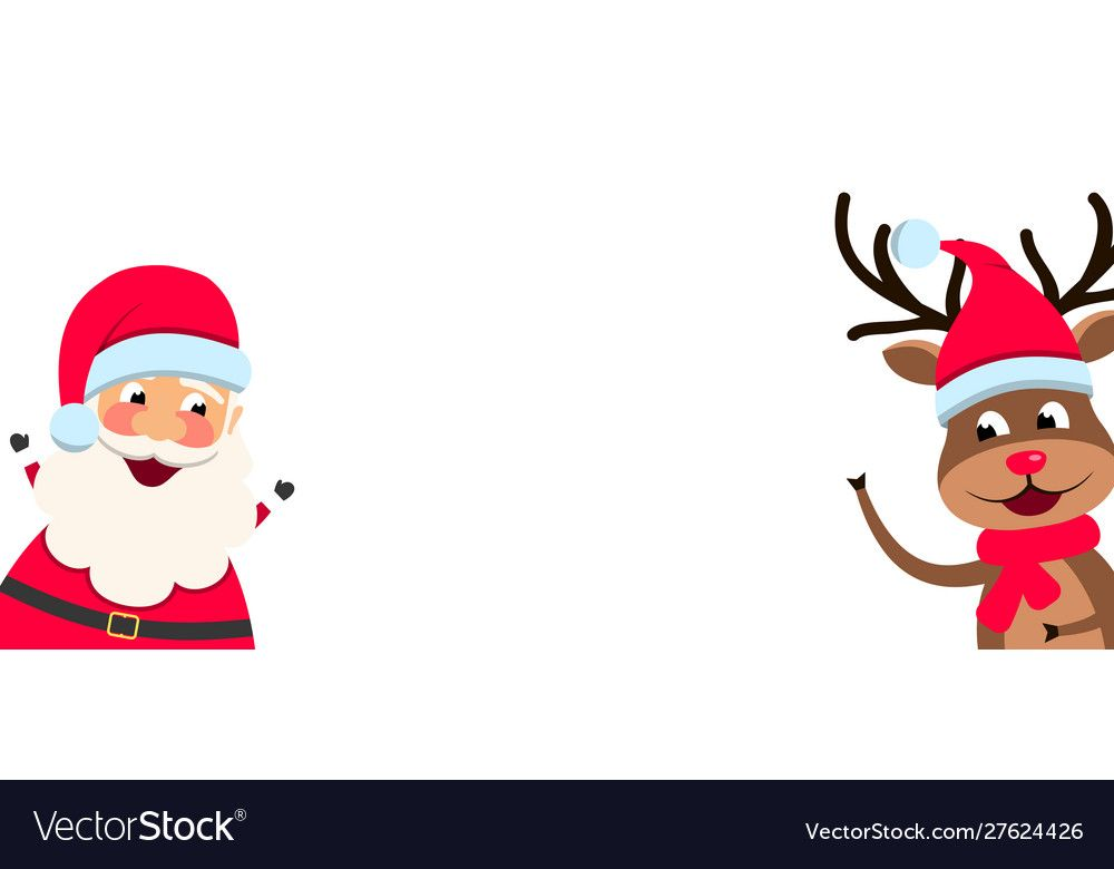 Funny Santa Claus And Christmas Deer With Blank Paper Illustration Vector Download A Free Preview Or High Quali In 2020 Santa Funny Christmas Deer Funny Santa Claus