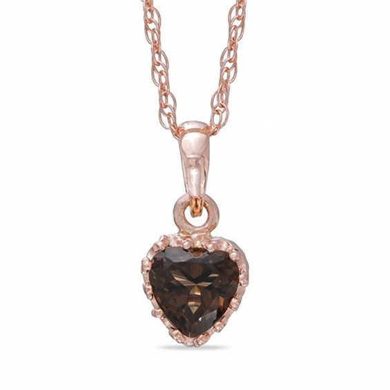 Zales Oval Smoky Quartz Crown Pendant in Sterling Silver with 14K Rose Gold Plate 7o9bBi