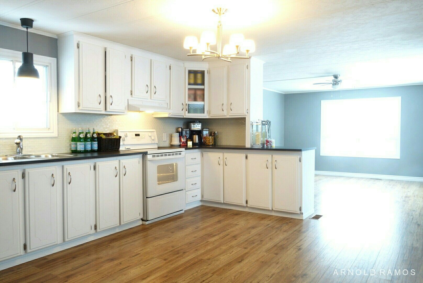 Open concept white kitchen | My Mobile Home Reno | Pinterest | Open ...