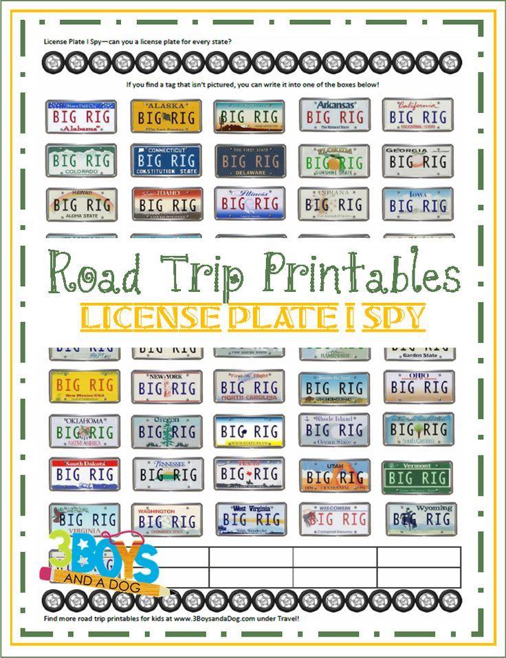 Road Trip Printables for Kids License Plate I Spy Road