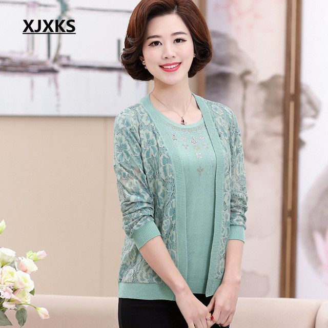 Middle-aged women outerwear sweater autumn new 2017 mother ...