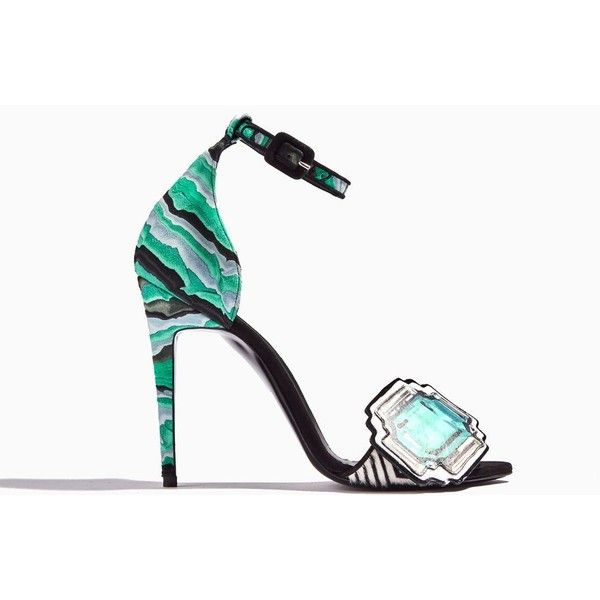 MEGA GEM SANDAL (13.585 ARS) ❤ liked on Polyvore featuring shoes, sandals, quilted shoes, zebra print shoes, zebra sandals, gem sandals and zebra shoes