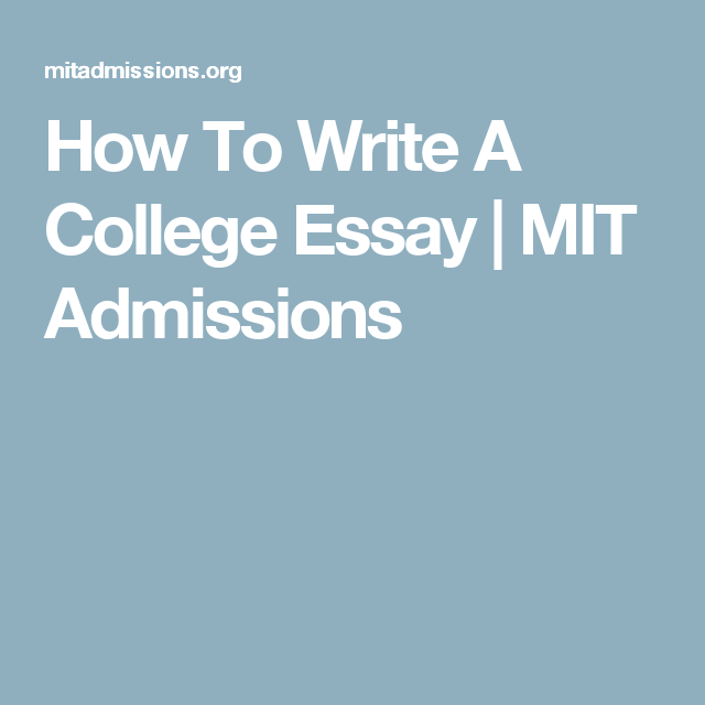 mit application essay