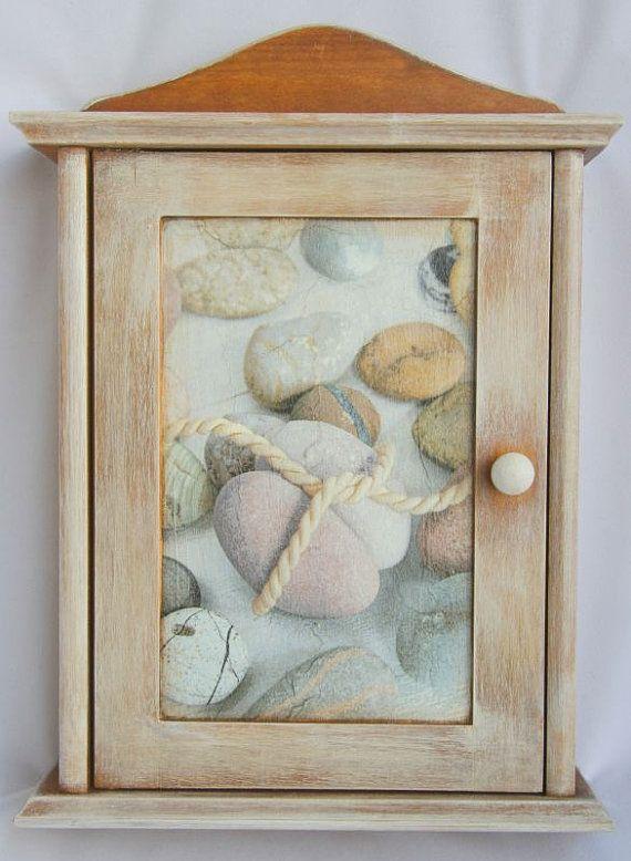 30 A Wooden Decoupaged Key Cabinet Stones Box Cupboard Holder