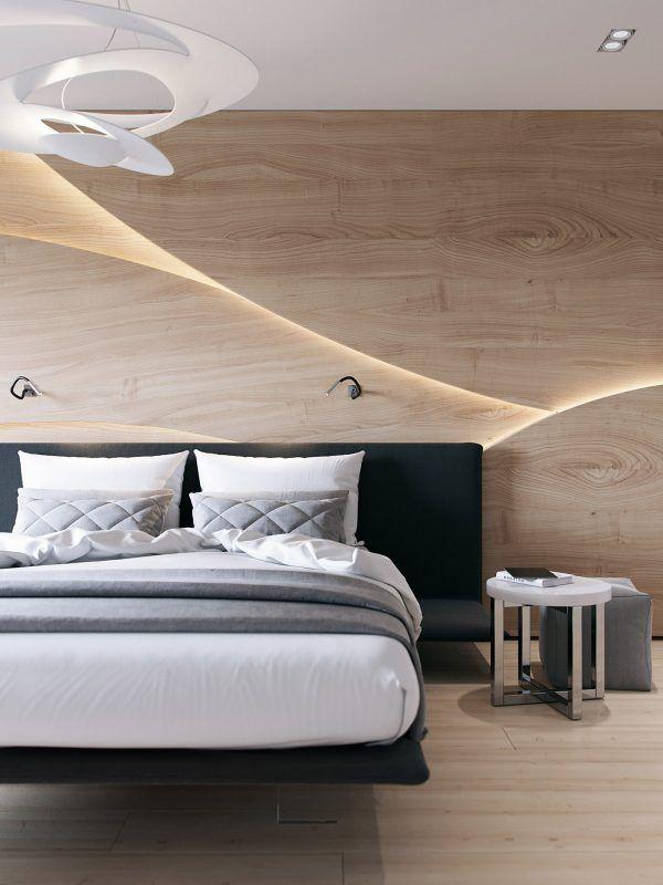 Paredes con dise os de madera para decorar habitaciones - Disenos para pintar paredes ...