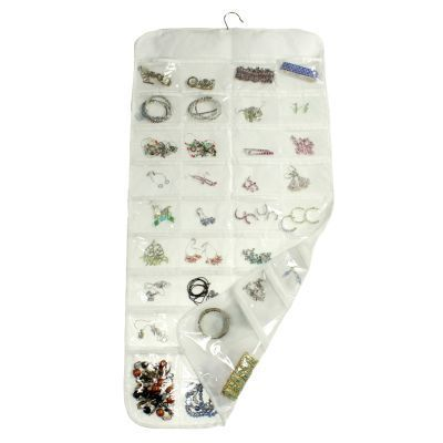 72Pocket Hanging Jewelry Organizer 2Sided Soft Nylon Clear Windows