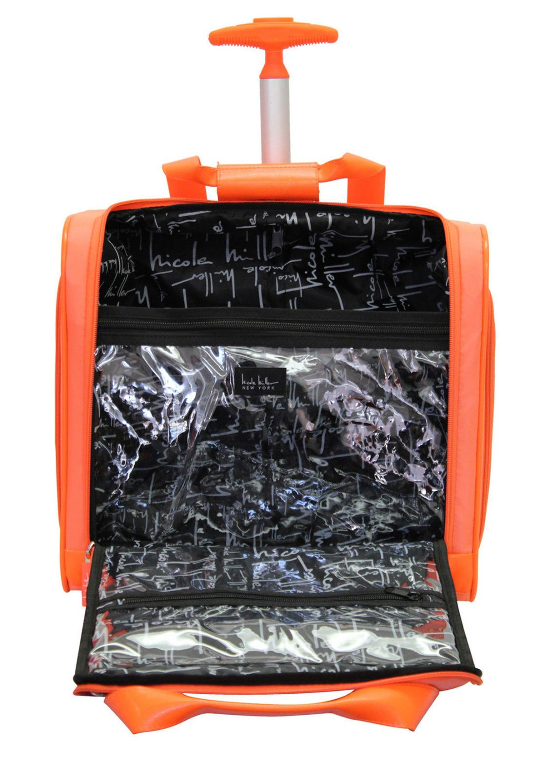 High Quality New Nicole Miller Orange Carry On Under Seat Bag Wheeled Luggage | EBay