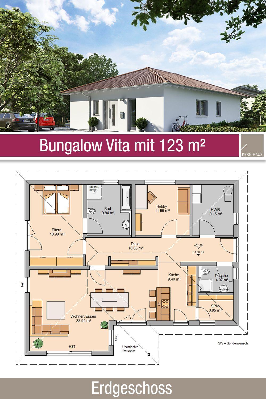Bungalow Grundriss 123 m² 3 Zimmer Erdgeschoss