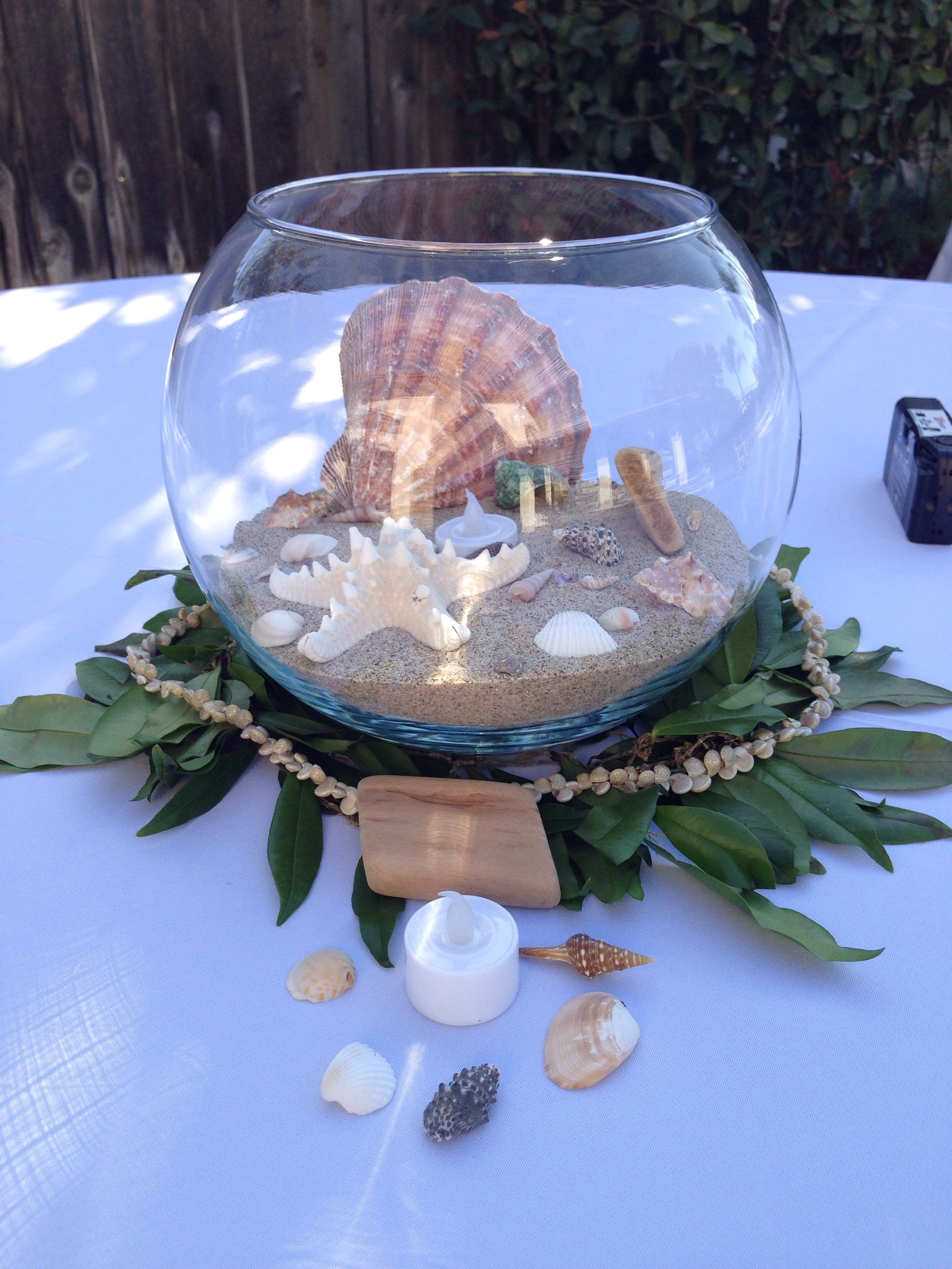 beach wedding, hawaiian theme centerpieces, seashells, sand