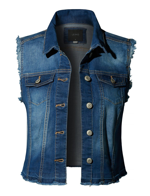 Distressed Frayed Button Up Denim Vest Clearance Denim Jacket Women Crop Denim Vest Denim Vest [ 1500 x 1150 Pixel ]