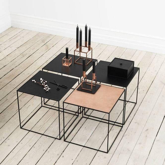 Twin table met keerbaar blad zwart-koper - Nordic Blends
