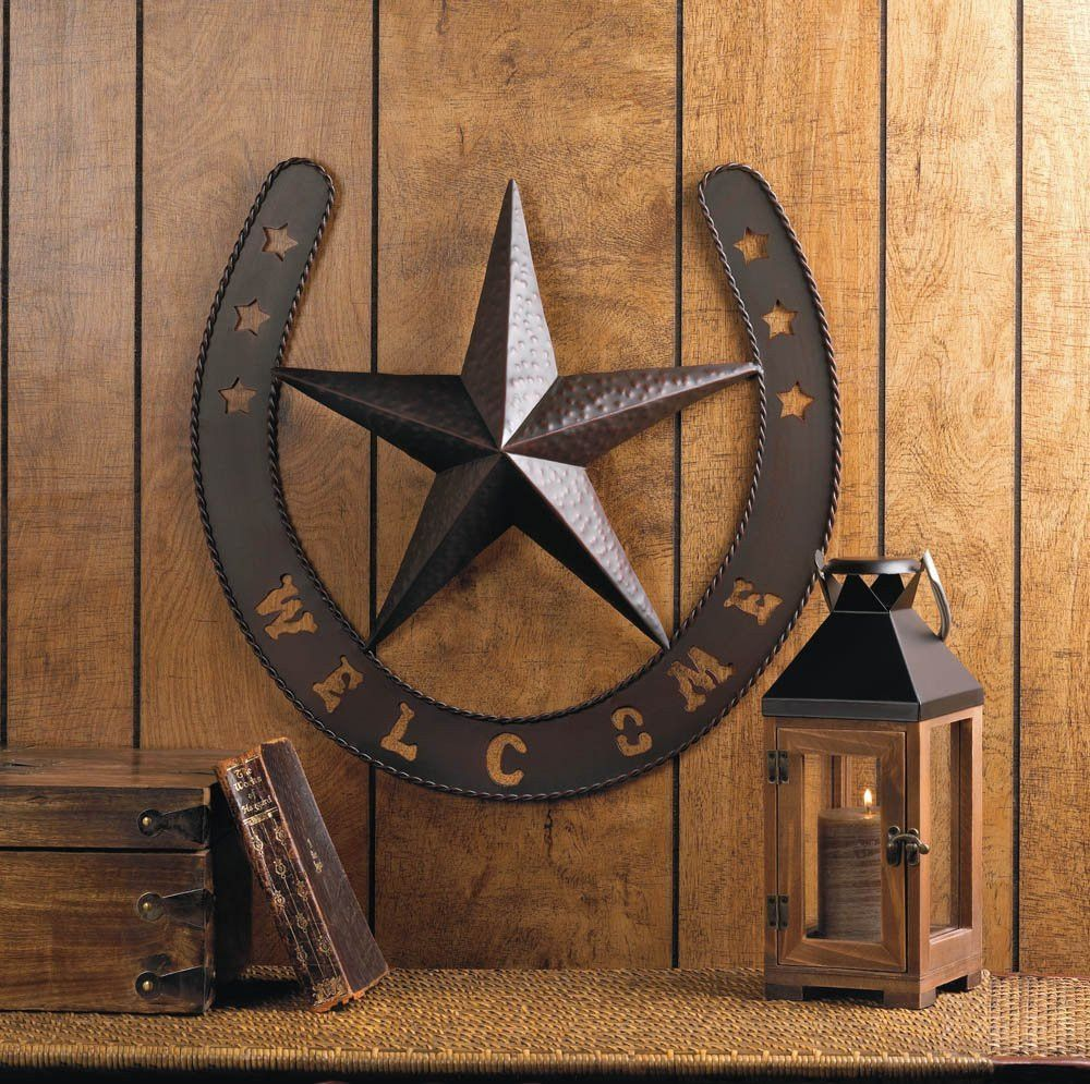 Western star wall decor iron wall decor lucky horseshoe and iron wall