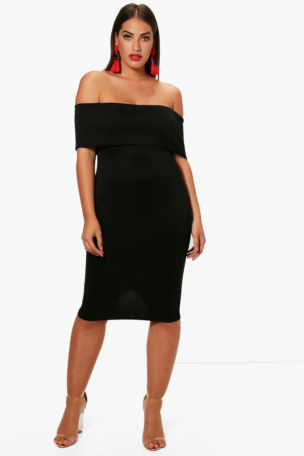 85a94a0025b0 Plus Katie Off The Shoulder Midi Dress | Plus Size Holiday Dresses ...