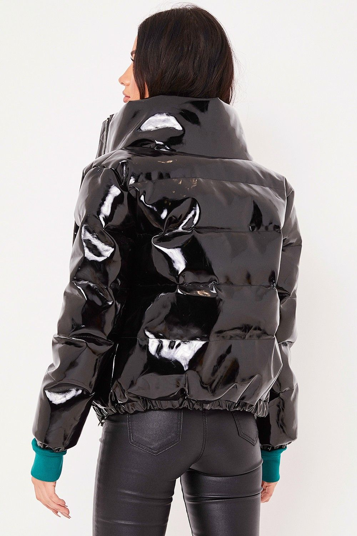 f1e8707e27a Leah Black High Shine Vinyl Puffer Jacket in 2019 | Shiny Fashion to ...